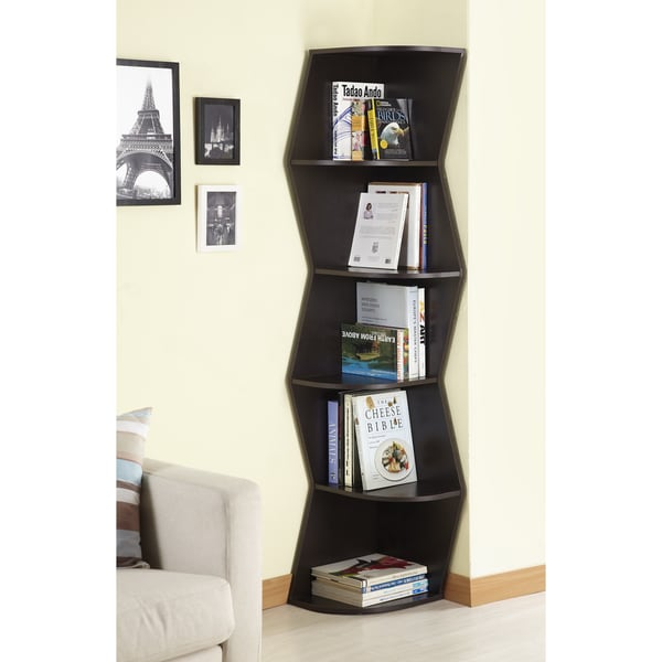 ... Walnut 6 tier Corner Bookcase Display Cabinet Bookshelf Office 5