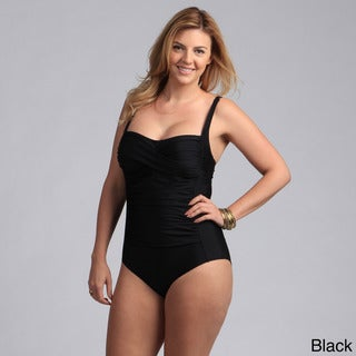 Ocean Jewel Plus Solid Shirred One Piece Swimsuit