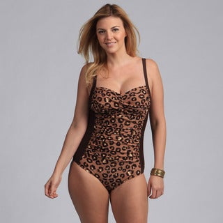 Ocean Jewel Women's Plus Size Leopard Print Shirred One Piece Swimsuit