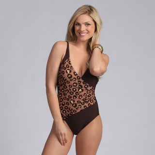 Ocean Jewel Women's Plus Leopard Surplice 1-piece Swimsuit