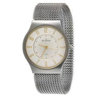 Skagen Men's Crystal-accented Stretch Mesh Strap Watch