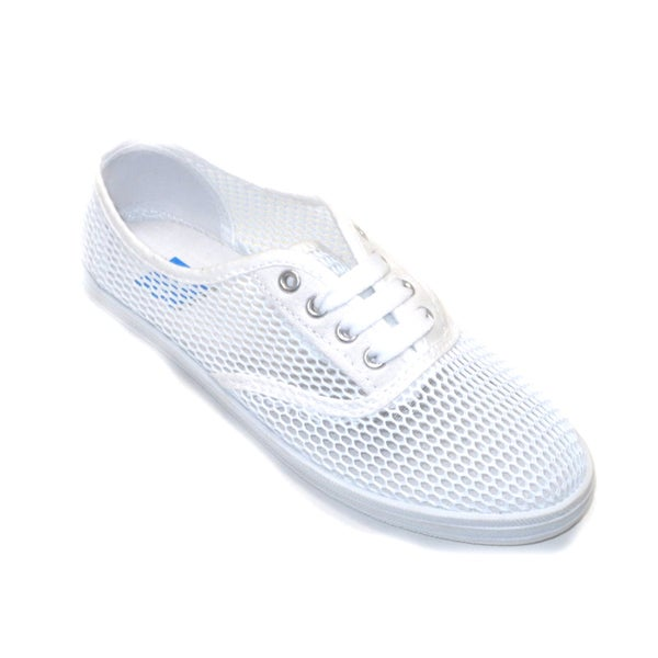 Blue Women's 'Riley' White Netted Lace-up Sneakers