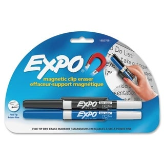 Expo Black and Blue Marker with Magnetic Clip Eraser Whiteboard Holder