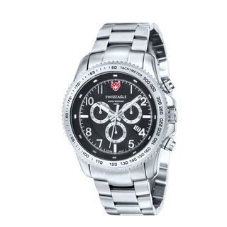 Swiss Eagle Men's 'Landmaster' Black Dial Chronograph Watch
