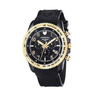 Swiss Eagle Men's 'Landmaster' Chronograph Black/ Gold Watch