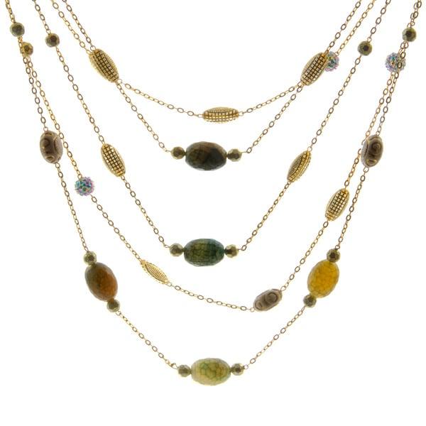Amrita Singh Goldtone Green Agate Beaded Necklace