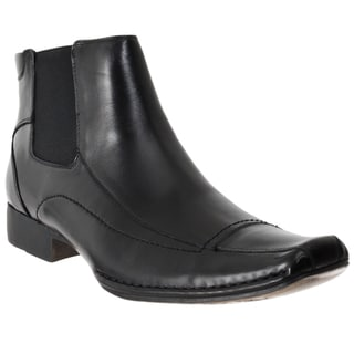 Steve Madden Men's 'Bannir' Black Leather Pull-on Boots