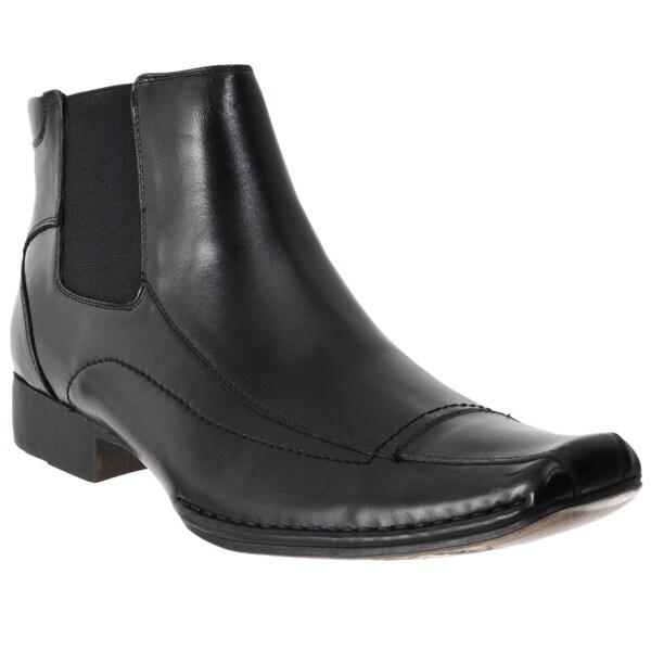 Steve Madden Men's 'Bannir' Black Leather Pull-on Boots