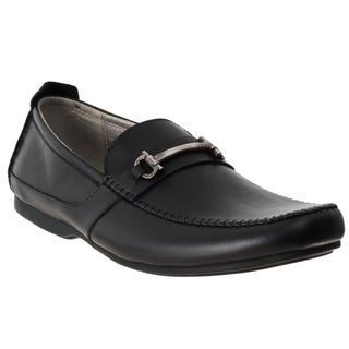 Steve Madden Men's 'Kattsblk' Black Leather Slip-on Dress Shoes