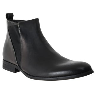 Steve Madden Men's 'Machho' Black Leather Pull-on Boots