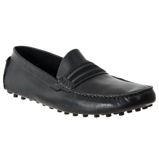 Steve Madden Men&#39;s &#39;Marra&#39; Black Leather Moc-Toe Driver Shoes