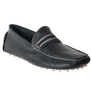 Steve Madden Men's 'Marra' Navy Leather Moc-Toe Driver Shoes