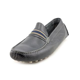 Steve Madden Men's 'Marra' Navy Leather Moc-Toe Driver Shoes