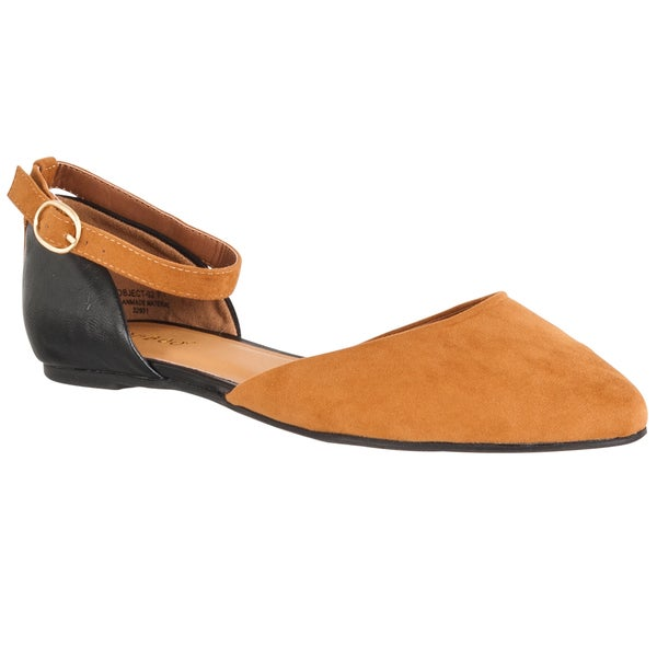 Riverberry Women's 'Object' Chestnut Microsuede Pointed Toe Flats