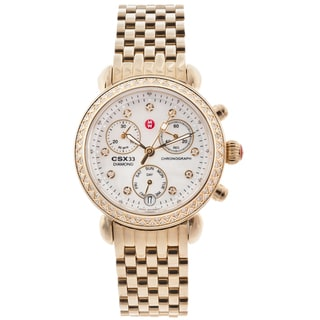 Michele Women's 'CSX' Diamond Bezel Gold-tone Chronograph Watch
