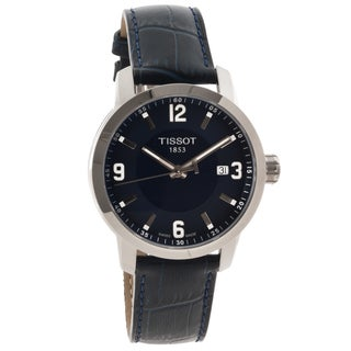 Tissot Men's T0554101604700 'PRC 200' Blue Leather Strap Analog Watch