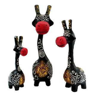 Set of 3 Hand-Carved Black and Red Giraffe Statues (Indonesia)