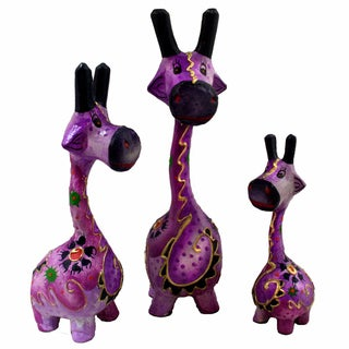 Set of 3 Purple Giraffe Statues, Handmade in Indonesia