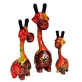 Set of 3 Handmade Red/ Brown Giraffe Statue (Indonesia)