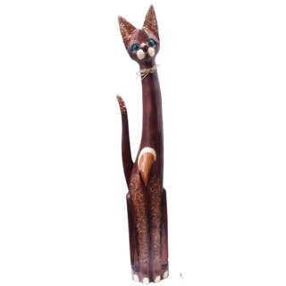 Hand-carved Bow Tie Cat Statue (Indonesia)