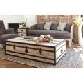Vennie Distressed Pine Wood Coffee Table