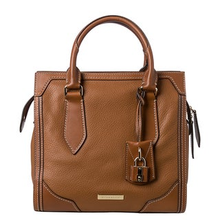 Burberry 'Honeywood' Small Tan Leather Structured Tote Bag