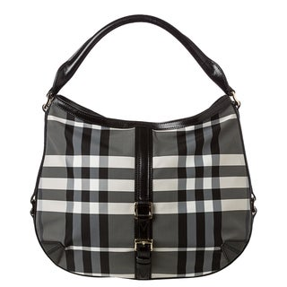 Burberry 'Grafton' Medium Charcoal Beat Check Hobo Bag