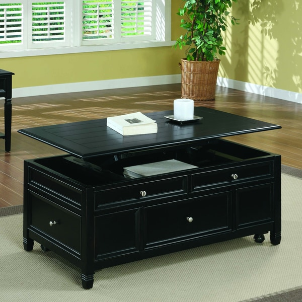 Black solid wood lift top storage cocktail table for Black coffee table with storage
