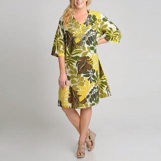 La Cera Women's Plus Size Yellow Leaf Print Casual Dress