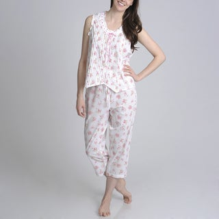La Cera Women's Floral Printed Button Front Pajama Set