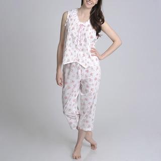 La Cera Women's Floral Printed Button Front Pajama Set