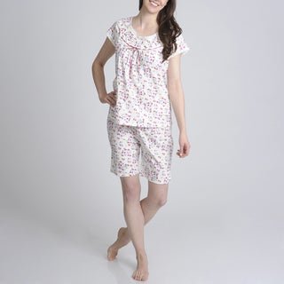 La Cera Women's Floral Printed Short Sleeve Pajama Short Set