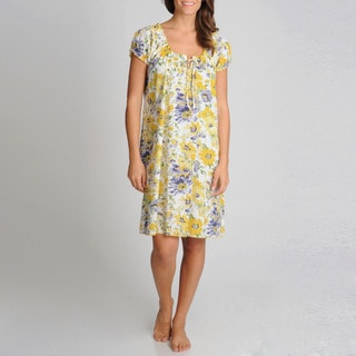La Cera Women's Yellow Floral Printed Chemise