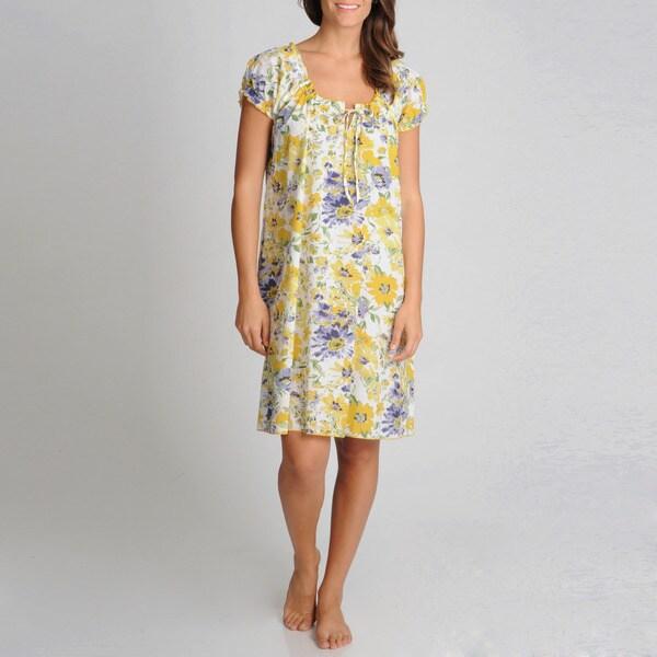 La Cera Women's Yellow Floral Printed Chemise