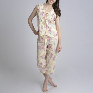 La Cera Womens Yellow Floral Printed Ribbon Trim Pajama Set