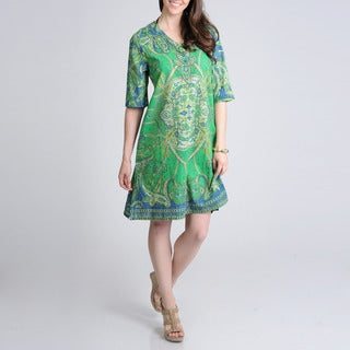 La Cera Women's Green Paisley V-neck Cover Up