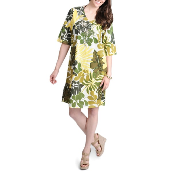 La Cera Women's Yellow Leaf Print V-neck Cover Up