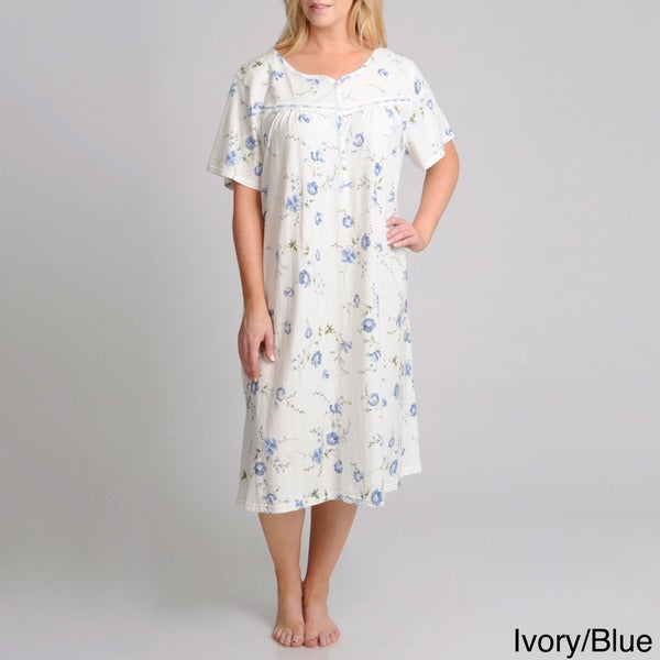 La Cera Women's Plus Size Short Sleeve Floral Printed Gown