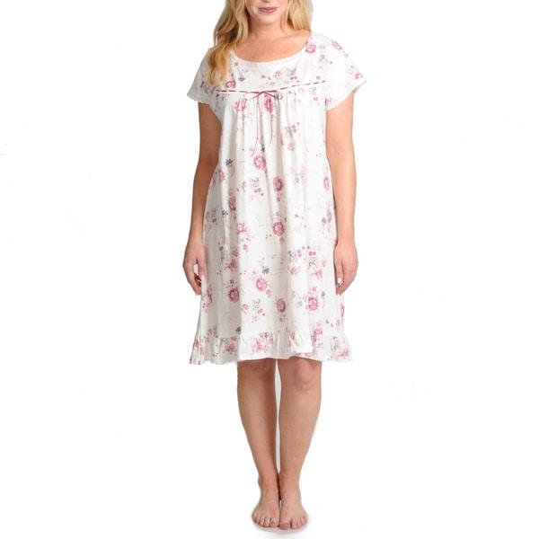 La Cera Women's Plus Size Cap Sleeve Short Ivory Floral Printed Chemise