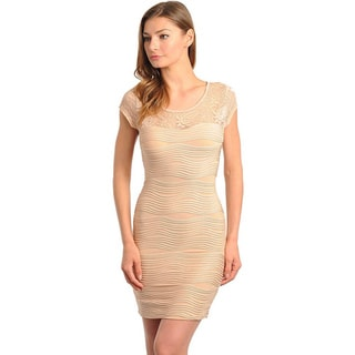 Stanzino Women's Cap Sleeve Lace Detailed Textured Dress