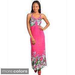 Stanzino Women's Embellished Silk Blend Sleeveless Floral Maxi Dress