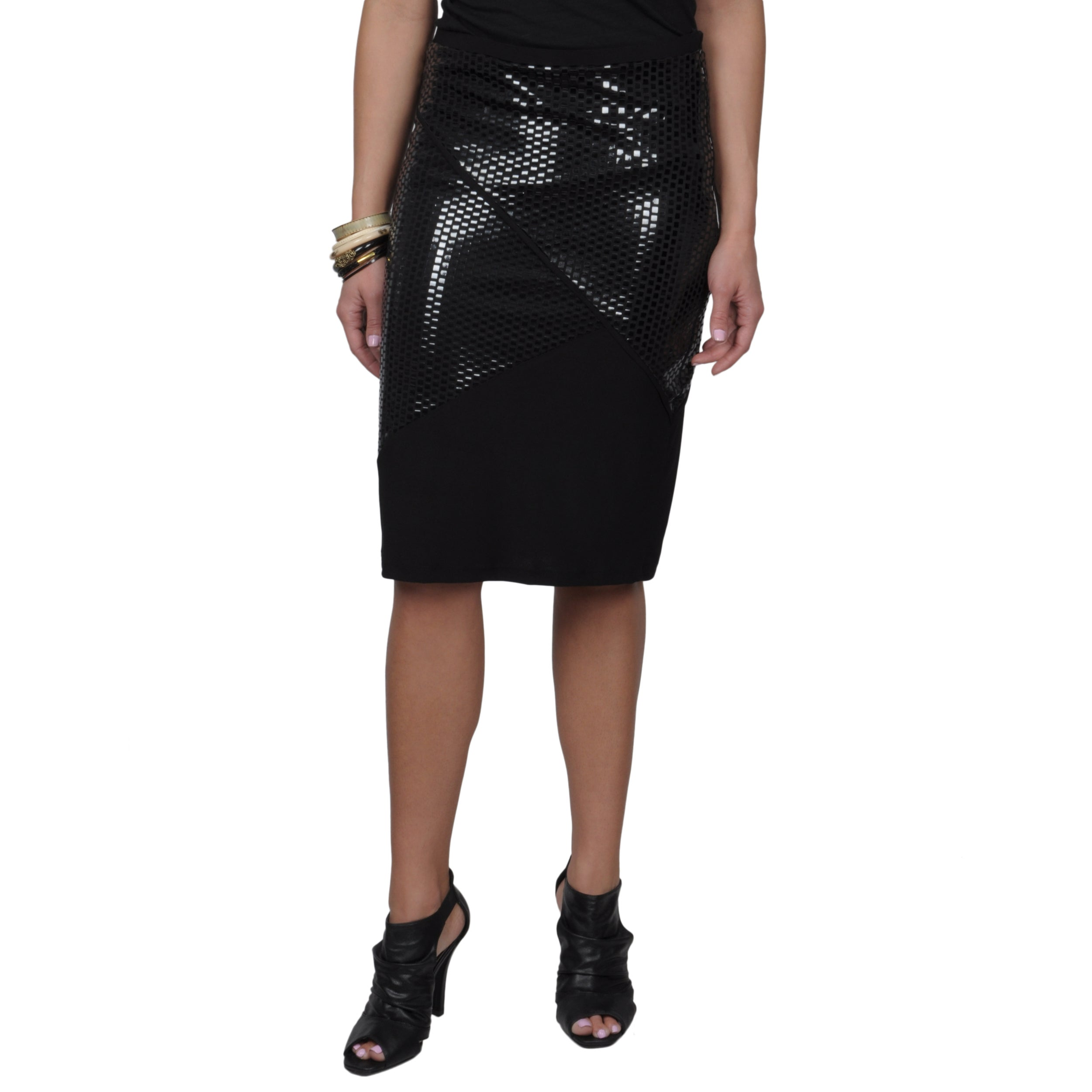 Journee Collection Junior's Metallic Straight Skirt