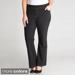 La Cera Women's Plus Size Stretch Boot Cut Pants