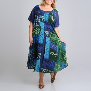 La Cera Women's Plus Size Short Sleeve 2-layer Leaf Print Dress