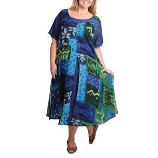 La Cera Women's Plus Size Short Sleeve 2-layer Leaf Print Dress