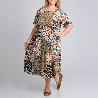 La Cera Women's Plus Size Short Sleeve Animal Printed Dress