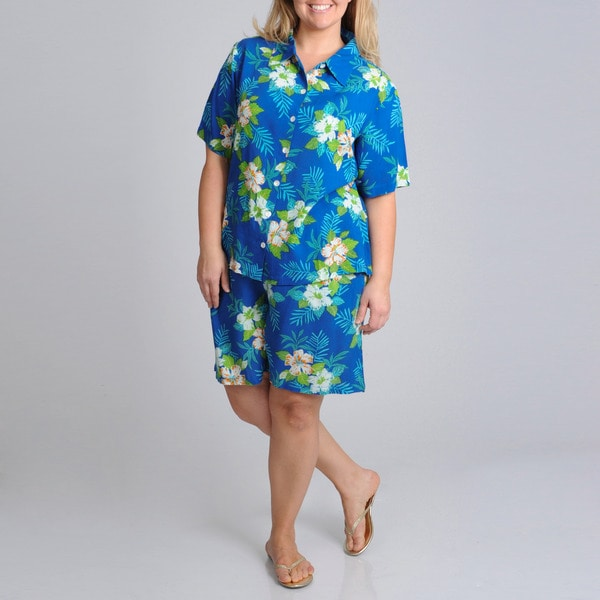 La Cera Women's Plus Size 2-piece Tropical Print Short Sleeve Shirt and Short Set