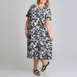 La Cera Women's Plus Size Short Sleeve Floral Printed Dress