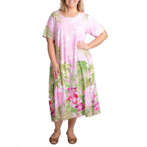 La Cera Women's Plus Size Pink Tropical Print Casual Dress