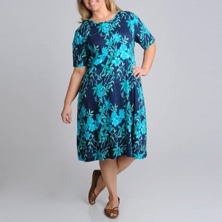 La Cera Women's Plus Size Navy Floral Print A-Line Dress